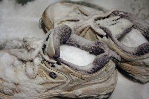 white snow cold frozen tennis shoes winter stiff