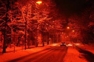 winter landscape road snow