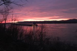 winter pink sky ohio river sunrise dam barge pink sunrise