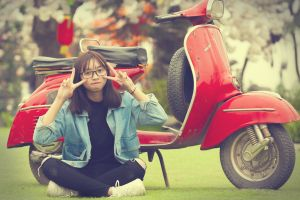 woman motorcycle sitting vehicle girl scooter transportation system person wear