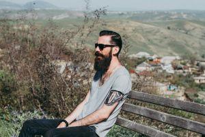 wooden bench sit mountains man eyewear portrait leisure wood blur tattoo
