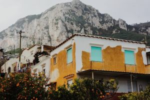 yellow mountains building architecture capri golden yellow