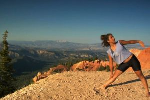 yoga cliff health mountains person woman