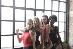youth asian team african fashion pose happiness black gym joy