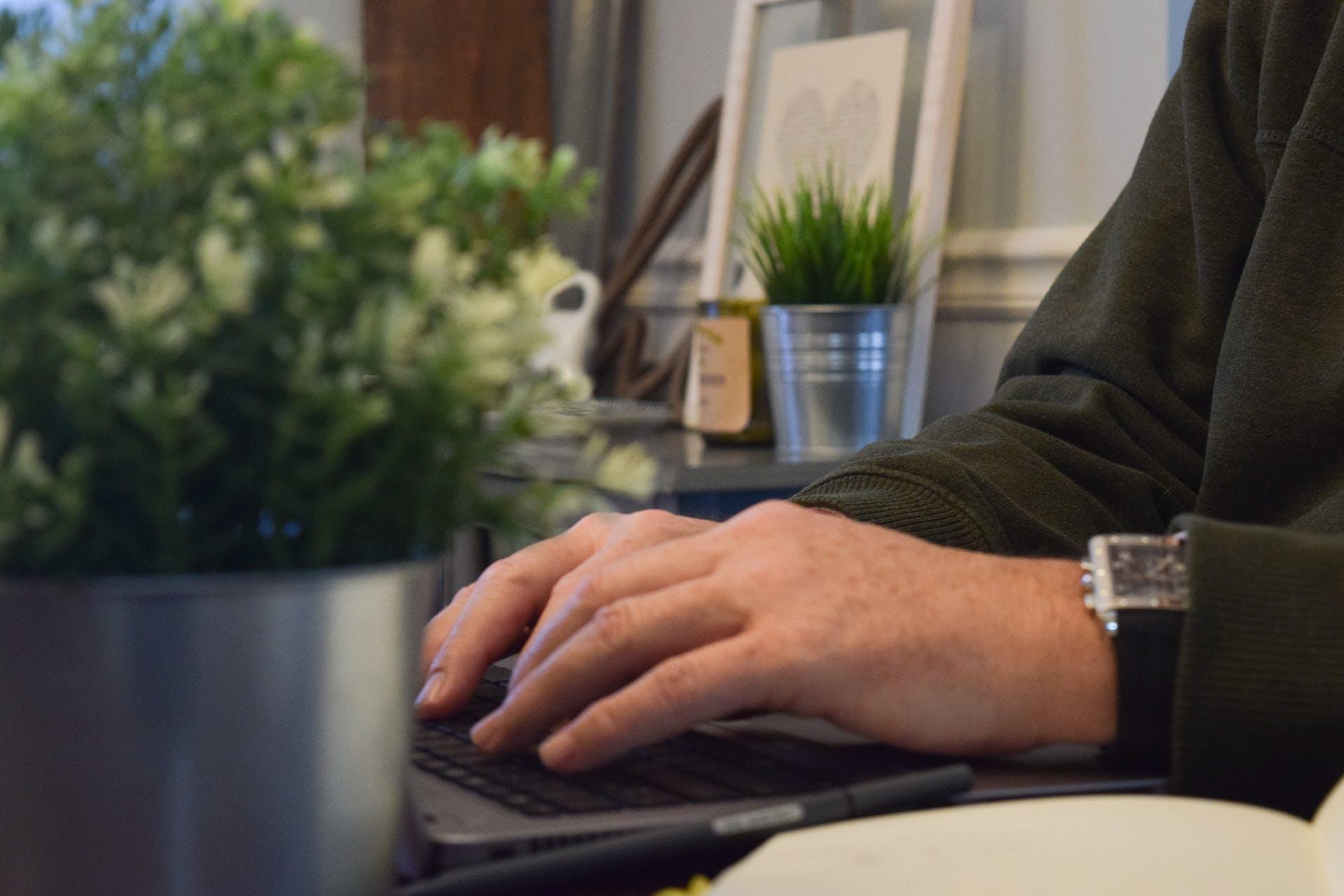 typing office laptop type working work