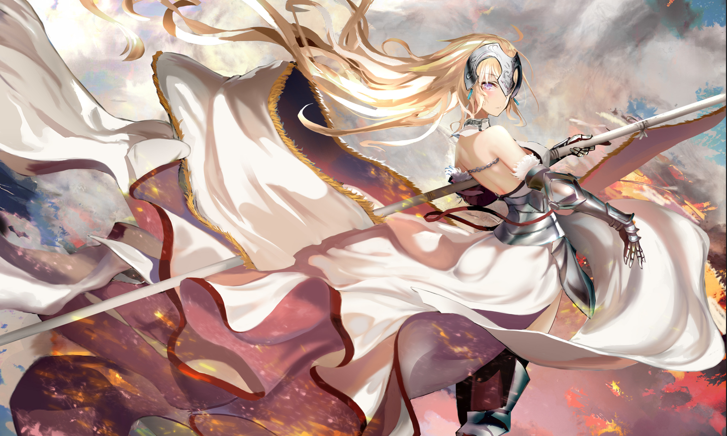anime girls fantasy armor blond hair digital art fate/grand order fate series fate/apocrypha  big boobs jeanne d'arc (fate) ruler (fate/apocrypha) long hair fantasy weapon
