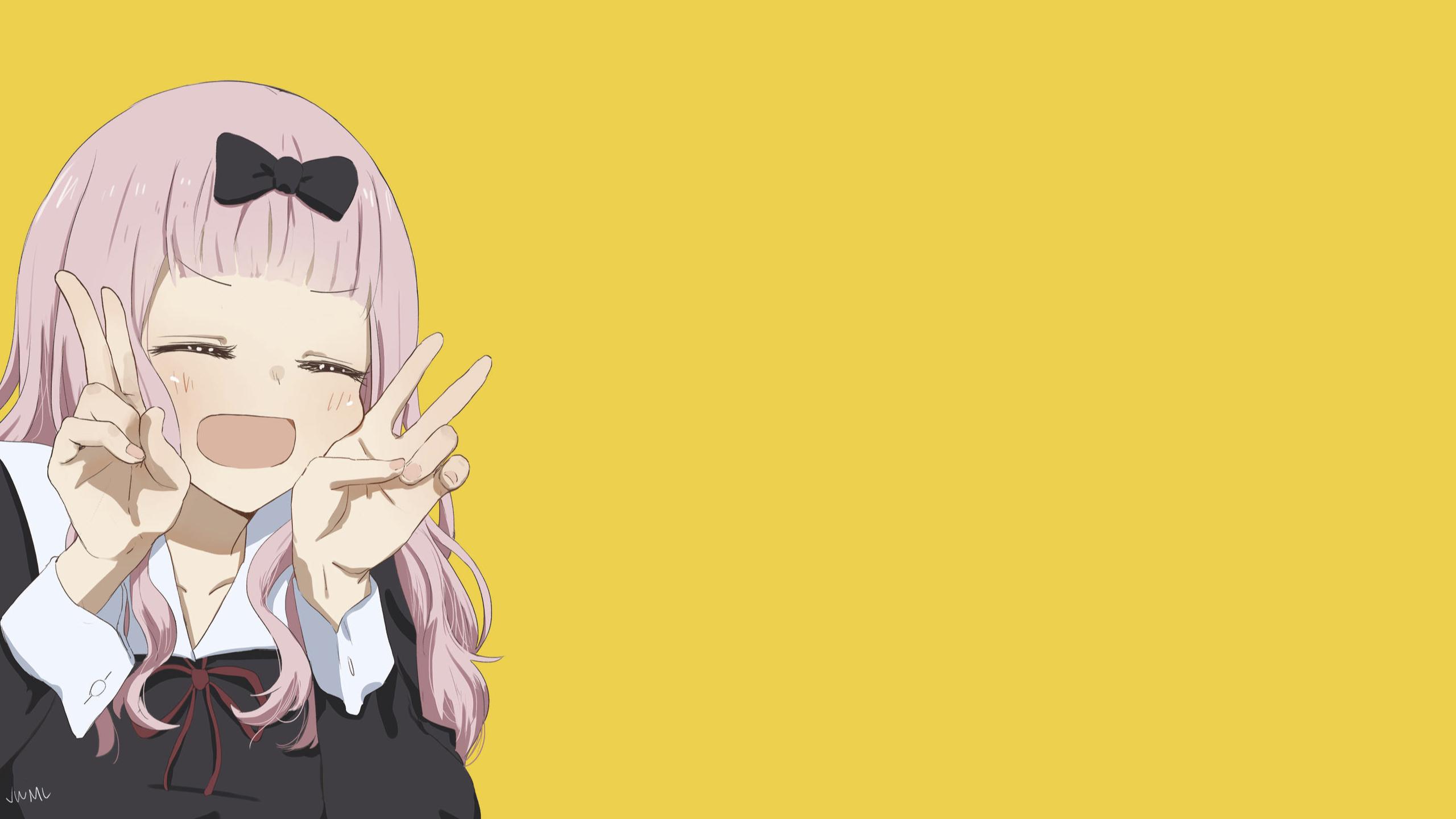 anime girls kaguya-sama: love is war chika fujiwara simple background anime