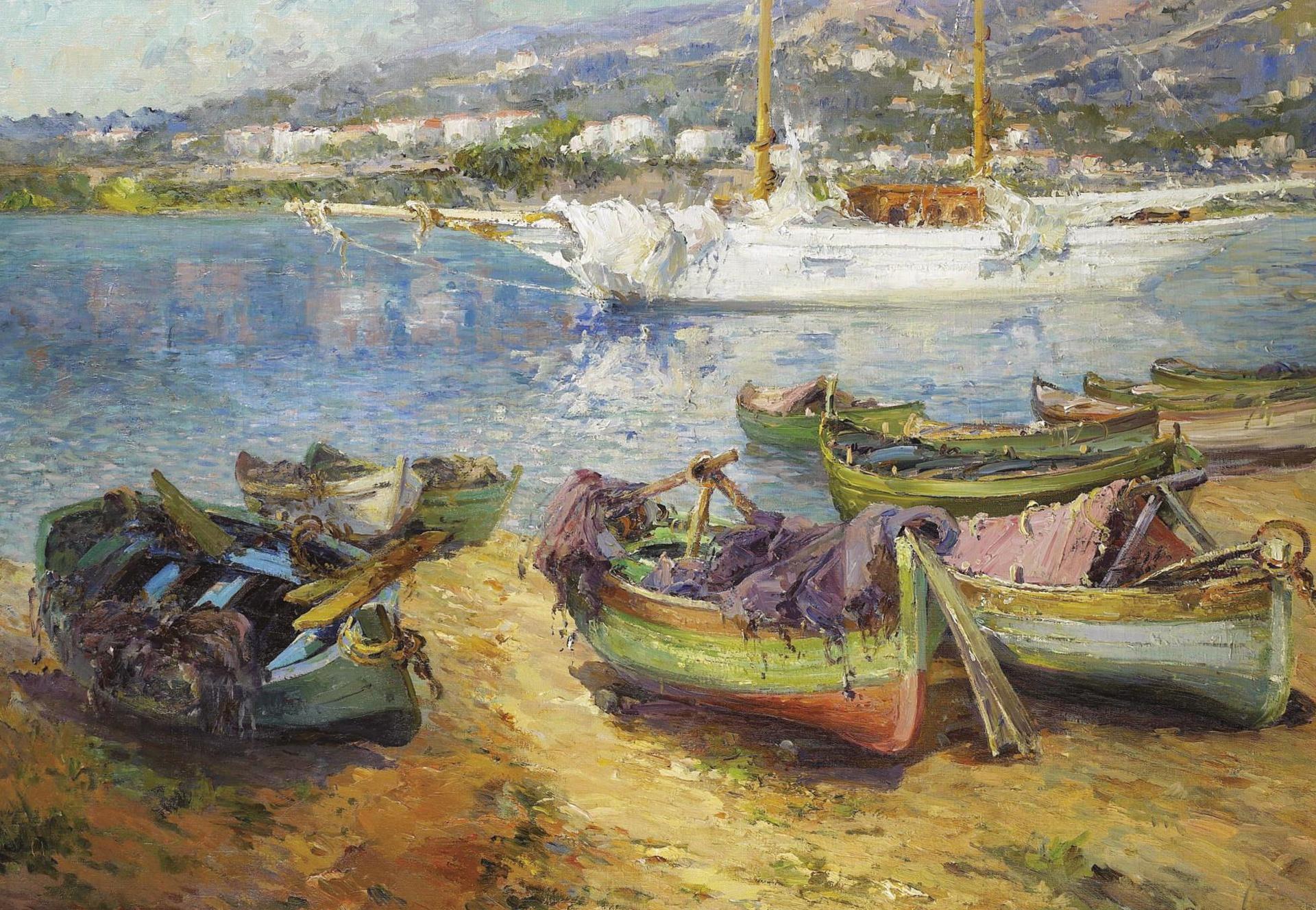 artwork boat classical art painting