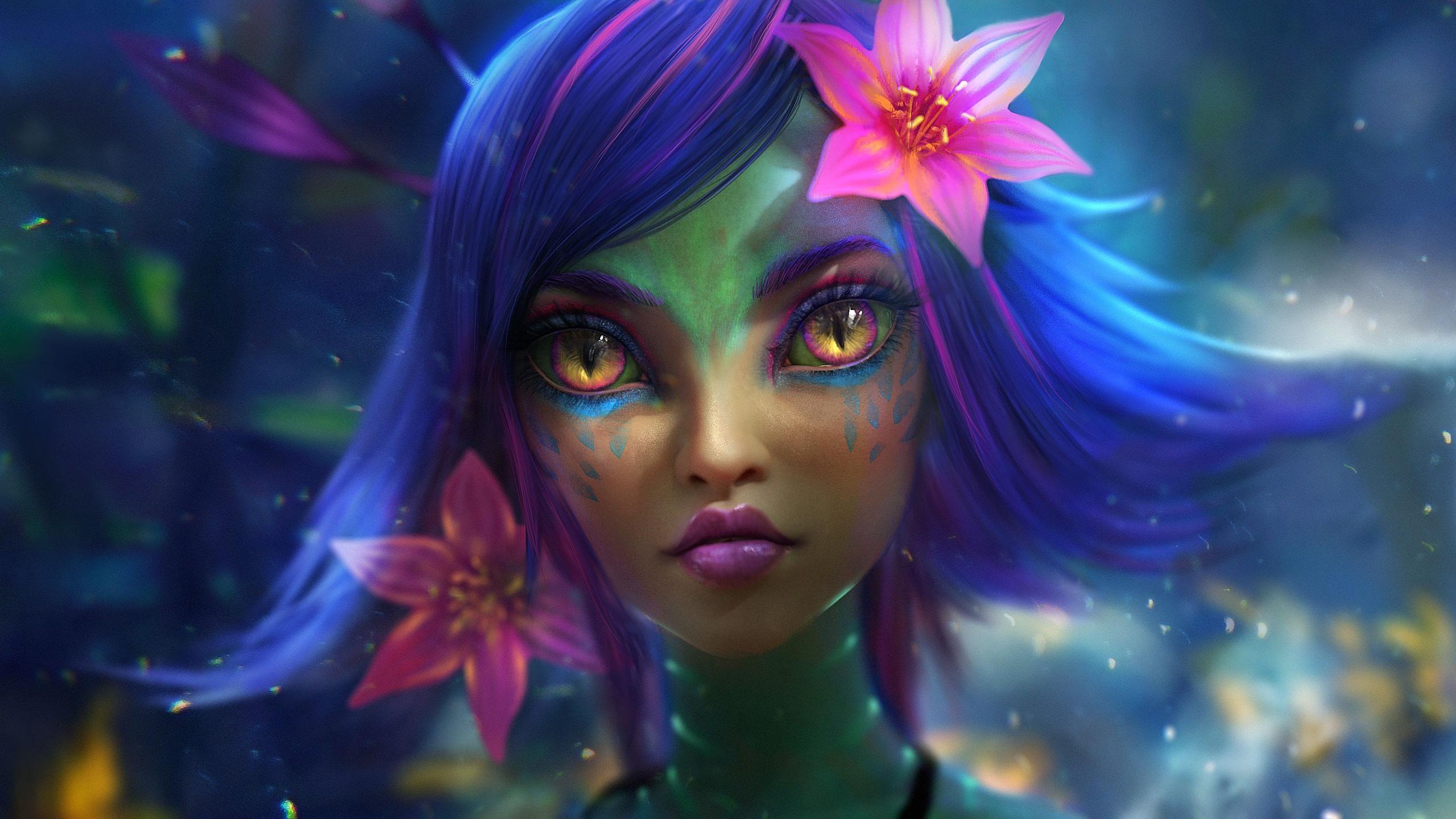 artwork fantasy girl fantasy art flower in hair neeko blue hair