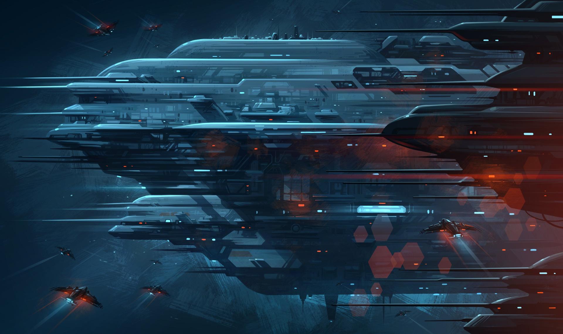 digital art spaceship science fiction space futuristic artwork