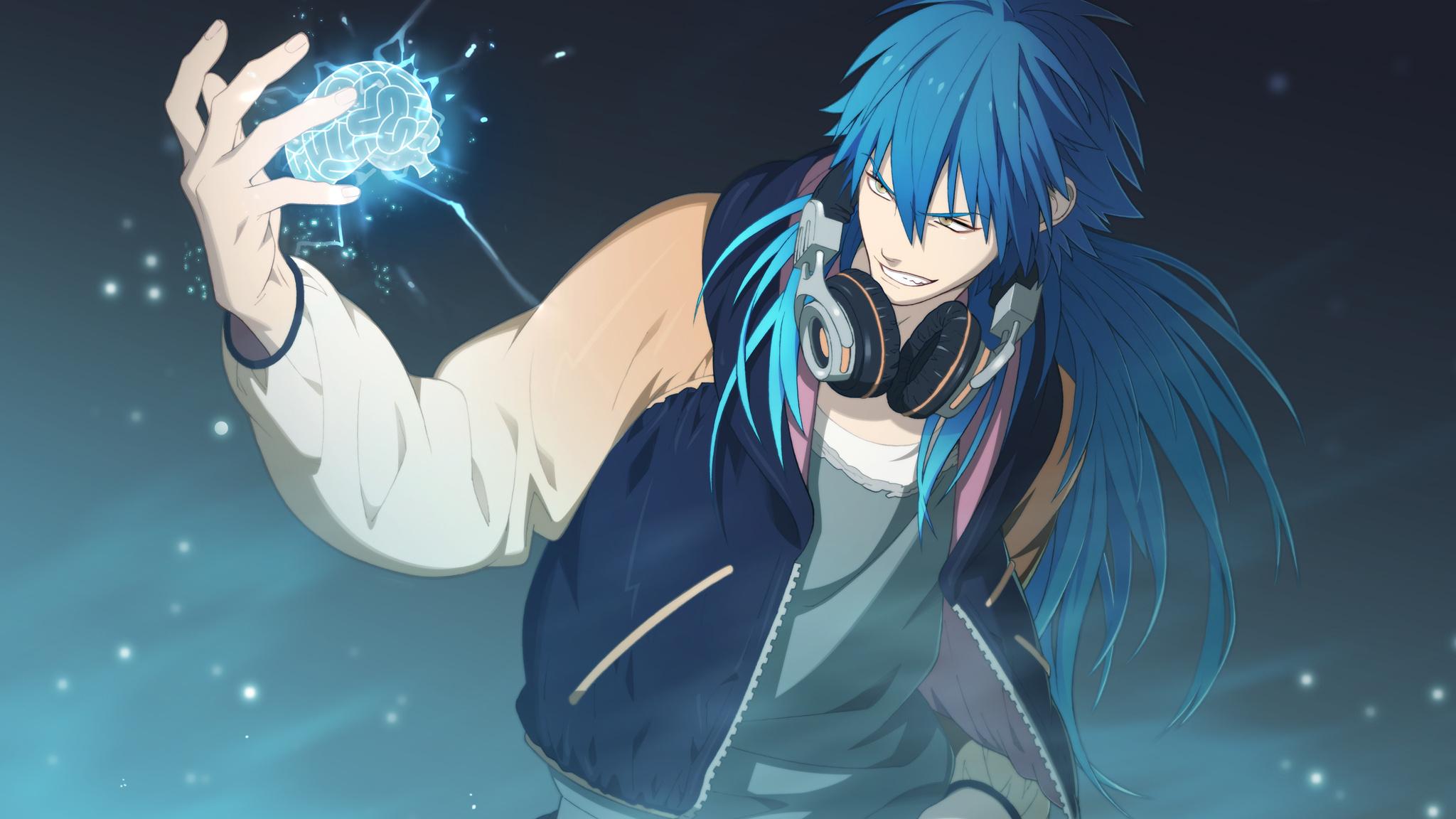 long hair headphones anime blue hair dramatical murder anime boys