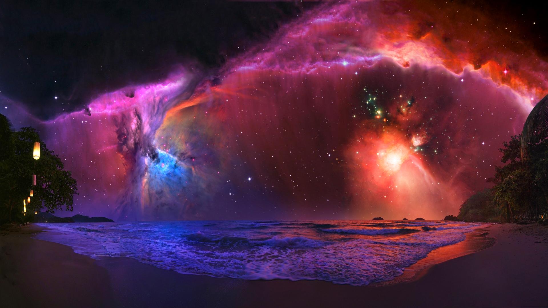 nebula galaxy beach vibrant stars space