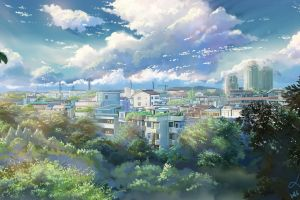 2016 (year) trees moescape clouds cityscape landscape sky anime outdoors