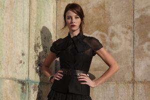 actress hands on hips redhead dress rachel nichols