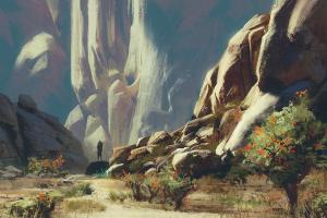 adventurers rocks environment wall artwork