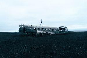aircraft wreck outdoors sky