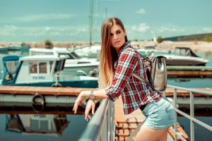 aleksandr suhar jean shorts plaid shirt pier boat women women outdoors long hair blonde handbags