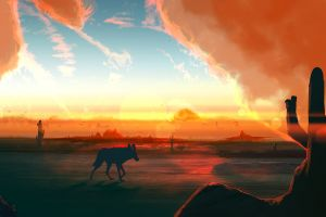 animals nature sky landscape artwork