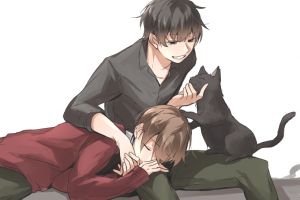 anime boys black hair anime male sleeping yaoi brunette cats