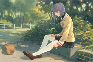 anime clannad anime girls school uniform fujibayashi ryou