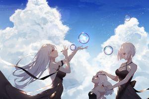 anime girls anime bubbles black clothes wind black dress sky kisui long hair clouds daylight