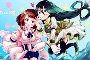 anime girls anime long hair holding hands open mouth heart (design) boku no hero academia