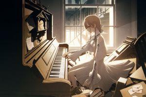 anime girls blond hair piano wanke anime original characters