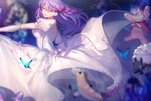 anime girls fate/stay night purple hair white dress matou sakura fate series fate/stay night: heaven's feel