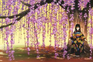 anime girls flowers jigoku shoujo trees anime enma ai