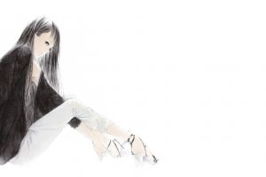 anime girls jacket black hair simple background drawing pants gray eyes long hair sitting original characters