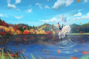 anime girls nature anime umbrella fall violet evergarden sky