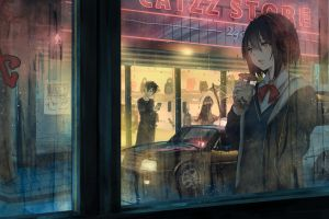 anime girls original characters city dark hair night view headphones rain anime