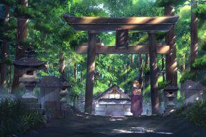 anime kimono anime girls japan forest original characters