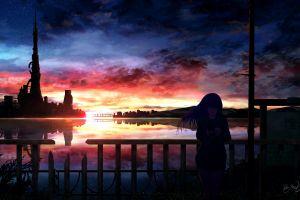 anime night anime girls sky sunlight dark