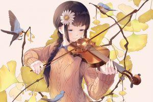 anime violin flower in hair anime girls original characters birds