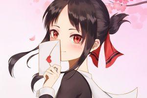anime women kaguya-sama: love is war artwork anime girls heart red eyes kaguya shinomiya letter pink background pink fantasy girl