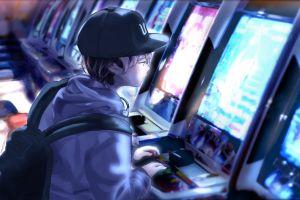 arcade  short hair sweatshirts anime backpack male bright brunette hat video games
