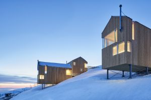 architecture cabin modern snow snow covered