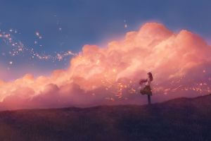 artwork anime girls clouds anime sky