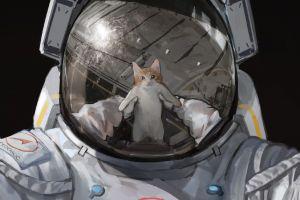 artwork astronaut cats