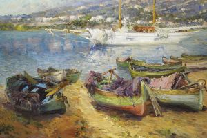 artwork boat classical art painting