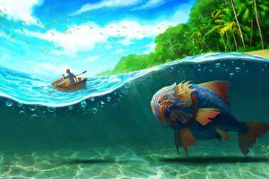 artwork boat underwater tropical fish fangs