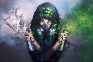 artwork digital white fantasy girl drawing nature graffiti anime digital art green dove digital painting mask fantasy art flowers
