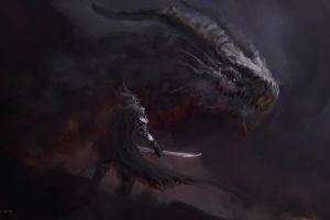 artwork knight digital art sword juan pablo roldan fantasy art dragon illustration creature drawing warrior