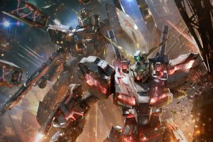 artwork nu gundam mobile suit gundam unicorn mech mobile suit digital art anime