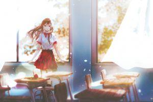 artwork schoolgirl smiling school uniform illustration brunette shirt long hair indoors anime girls classroom skirt women original characters bow-tie