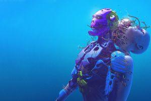 artwork science fiction robot digital art blue background