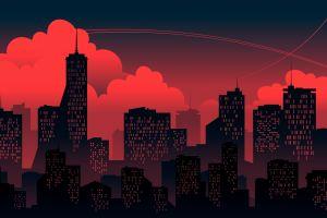 artwork sky cityscape digital art