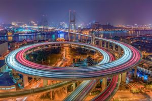 asia china road shanghai cityscape bridge long exposure light trails