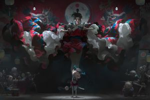 asian artwork puppets geisha drawing fantasy art kimono digital art knife lollipop overalls women illustration zeen chin